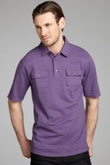 Hickey Freeman Purple Slub Cotton Short Sleeve Military Polo Shirt - Lyst