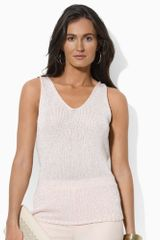 Lauren by Ralph Lauren Sleeveless Sequined Vneck Top - Lyst