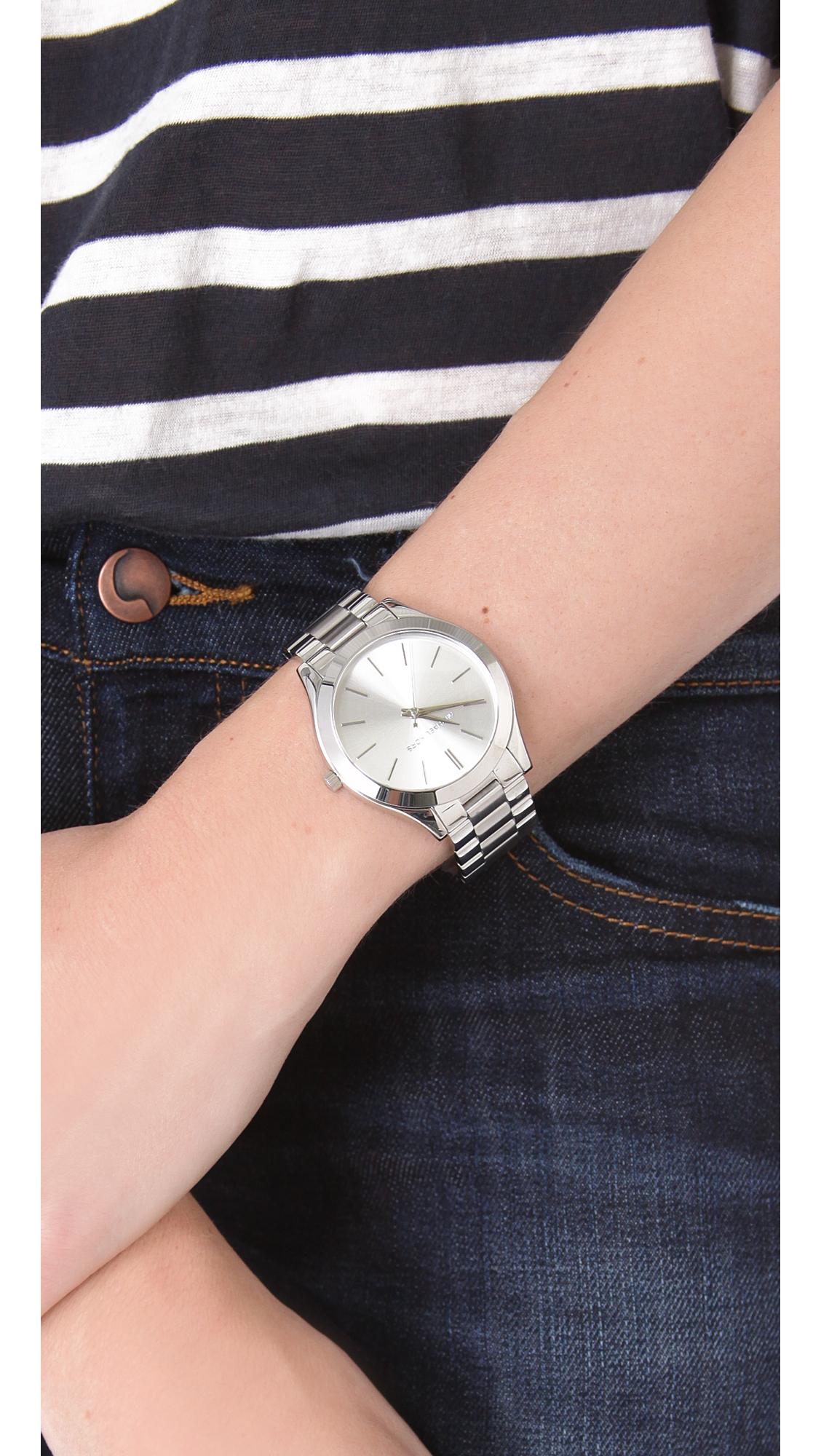 ed533974945f Lyst - Michael Kors Slim Runway Watch in Metallic