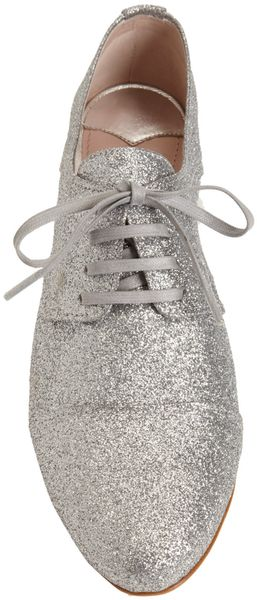 Miu Miu Glittered Cap Toe Oxford - Lyst