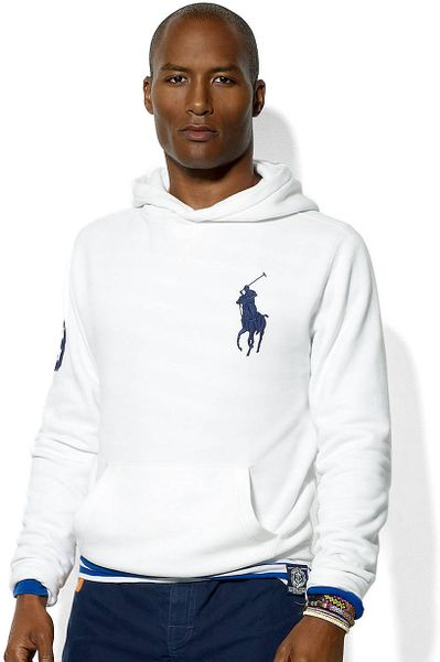 Polo Ralph Lauren Long Sleeved Beach Fleece Hoodie in White for Men