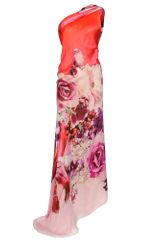 Roberto Cavalli Print Silk Gown with Draped Detail