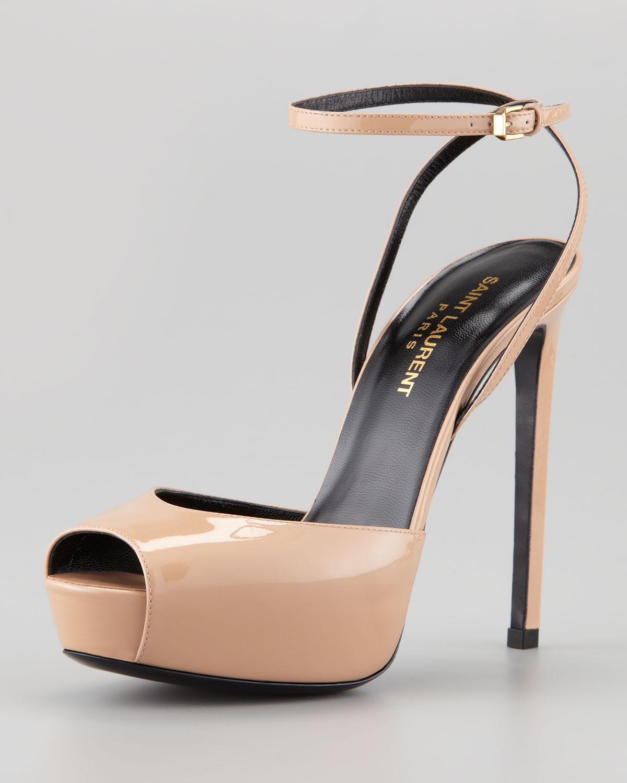 1ae494803703 Lyst - Saint Laurent Debbie Patent Peep Toe Platform Sandal in Natural