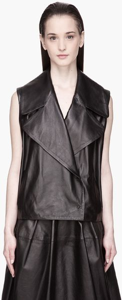 Simone Rocha Black Textured Leather Vest - Lyst