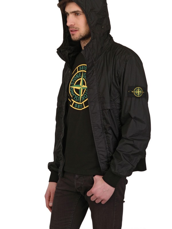 Stone island Waterproof Dyed Nylon Bomber Jacket in Black for Men ...