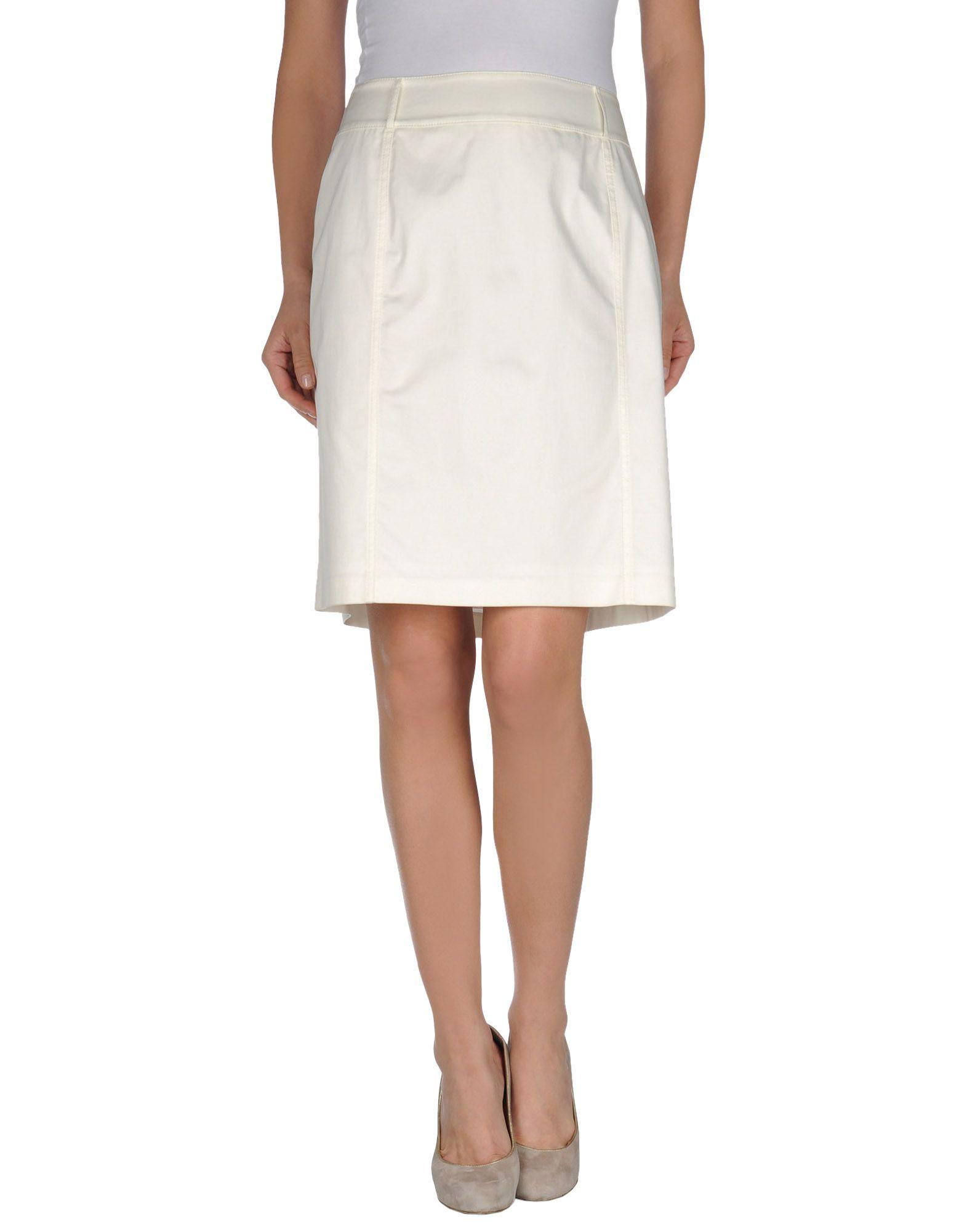 Strenesse Knee Skirt Length White Lyst In lFK31JcT