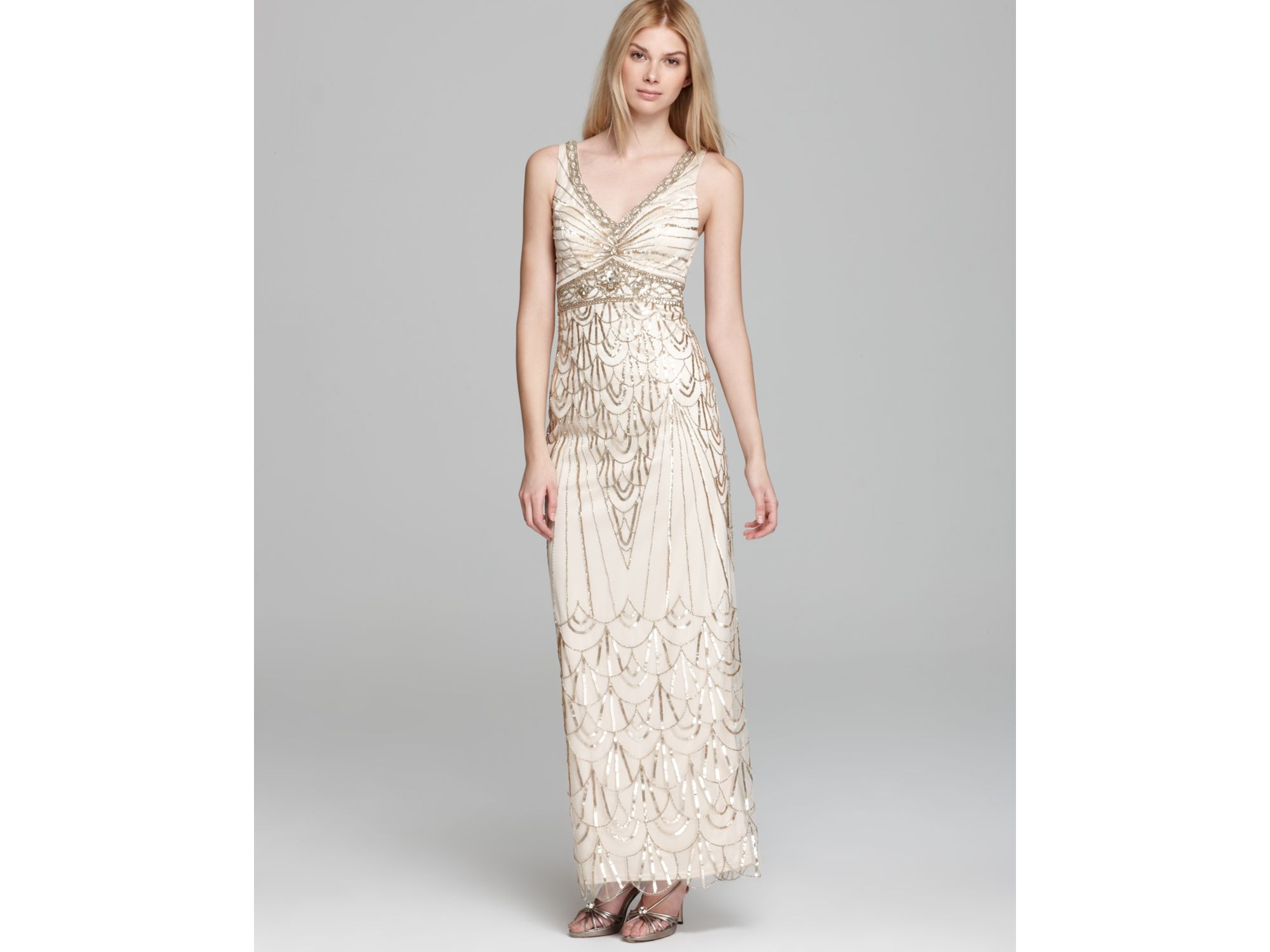 4c3d5d65f3c Sue Wong V- Neck Beaded Gown in Metallic - Lyst