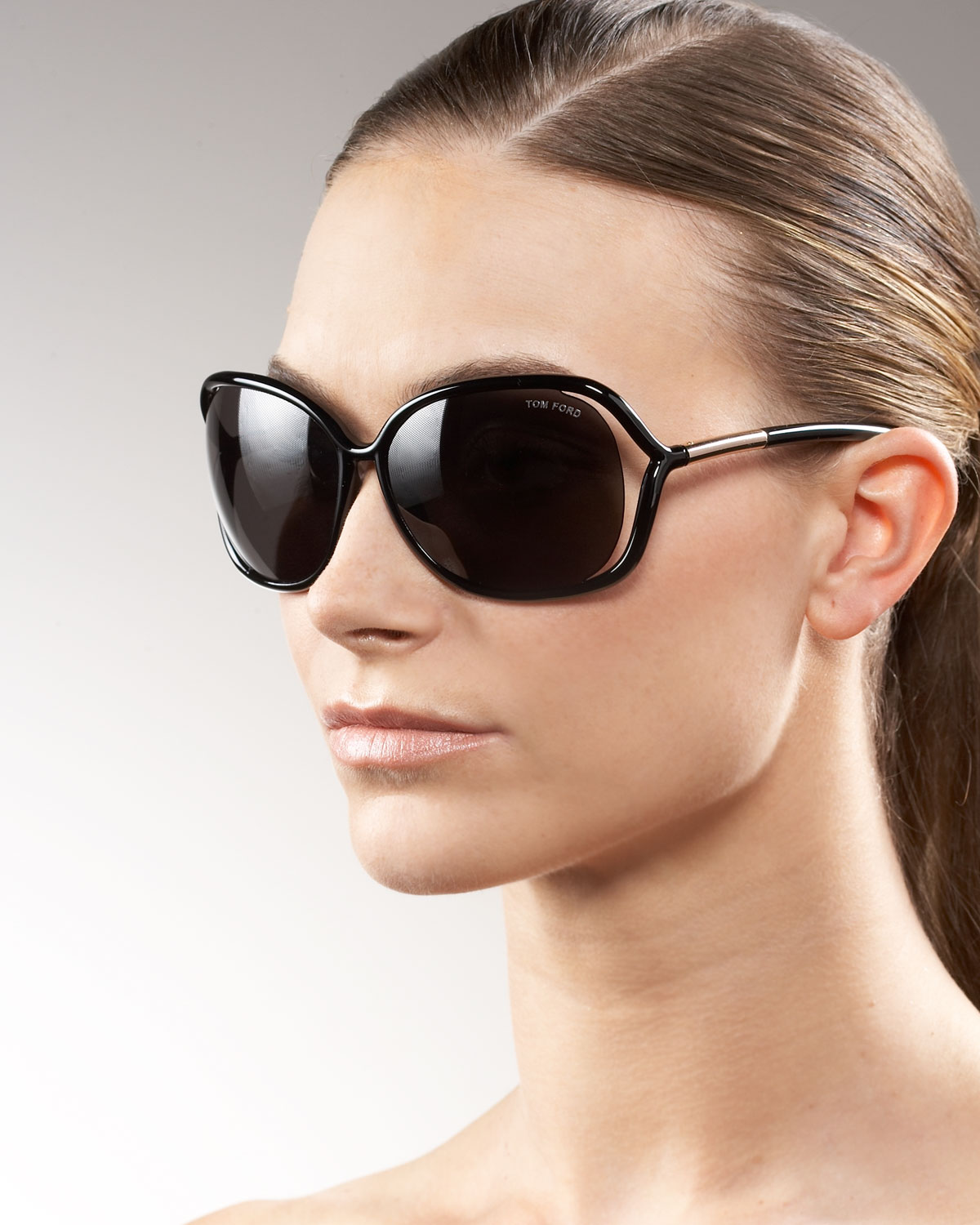 Tom Ford Raquel Roundlens Sunglasses In Transparent