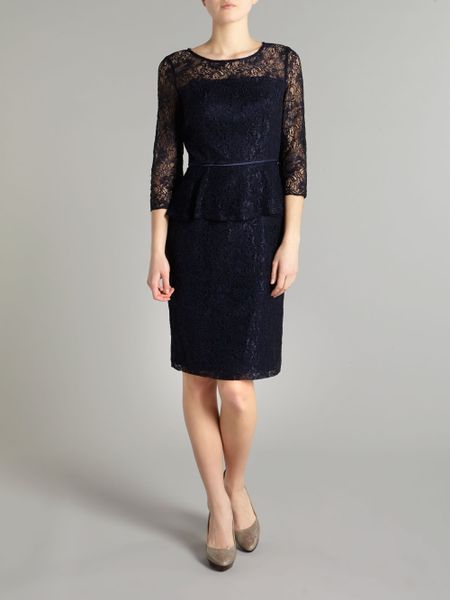 Adrianna Papell Lace Peplum Dress In Blue Navy Lyst