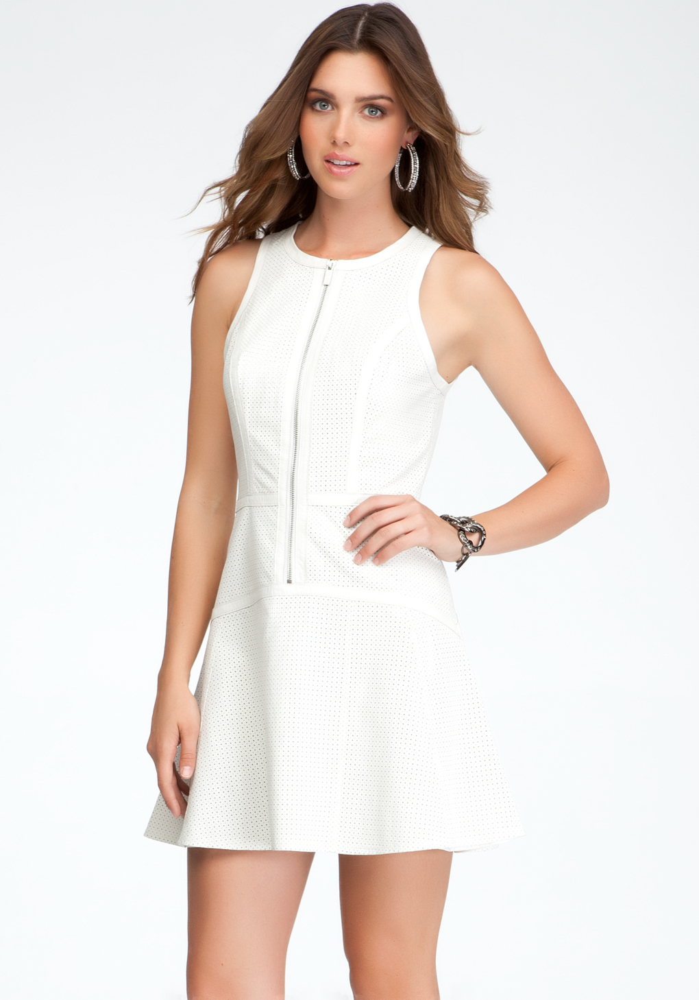 bebe perforated leather fit flare dress in white lyst