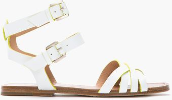 Belle By Sigerson Morrison White and Fluorescent Green Criss Cross Flat Sandal - Lyst