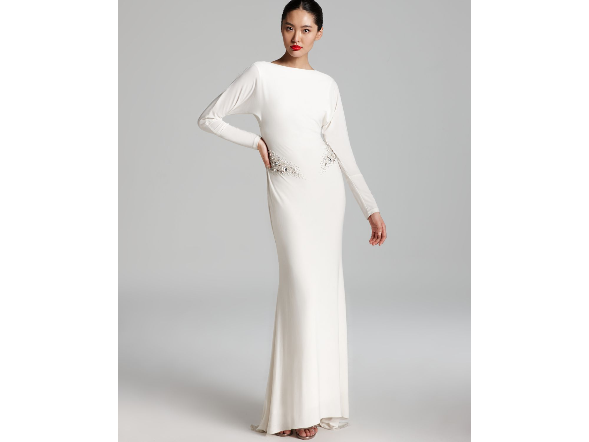Lyst - Badgley Mischka Gown Long Sleeve Beaded in White