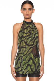 Proenza Schouler Sleeveless Printed Pieced Top in Green Bug - Lyst