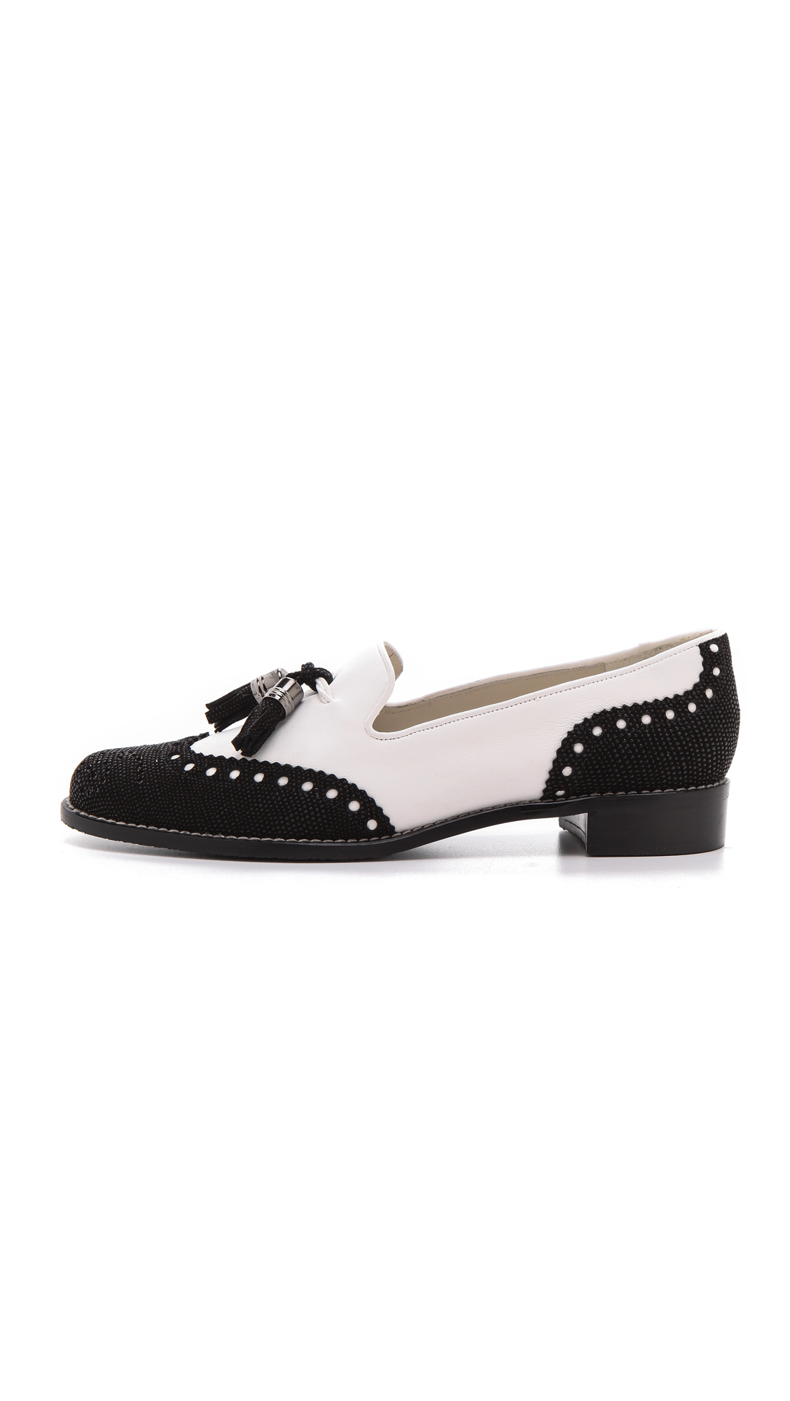 Lyst Stuart Weitzman Guything Two Tone Loafers In White