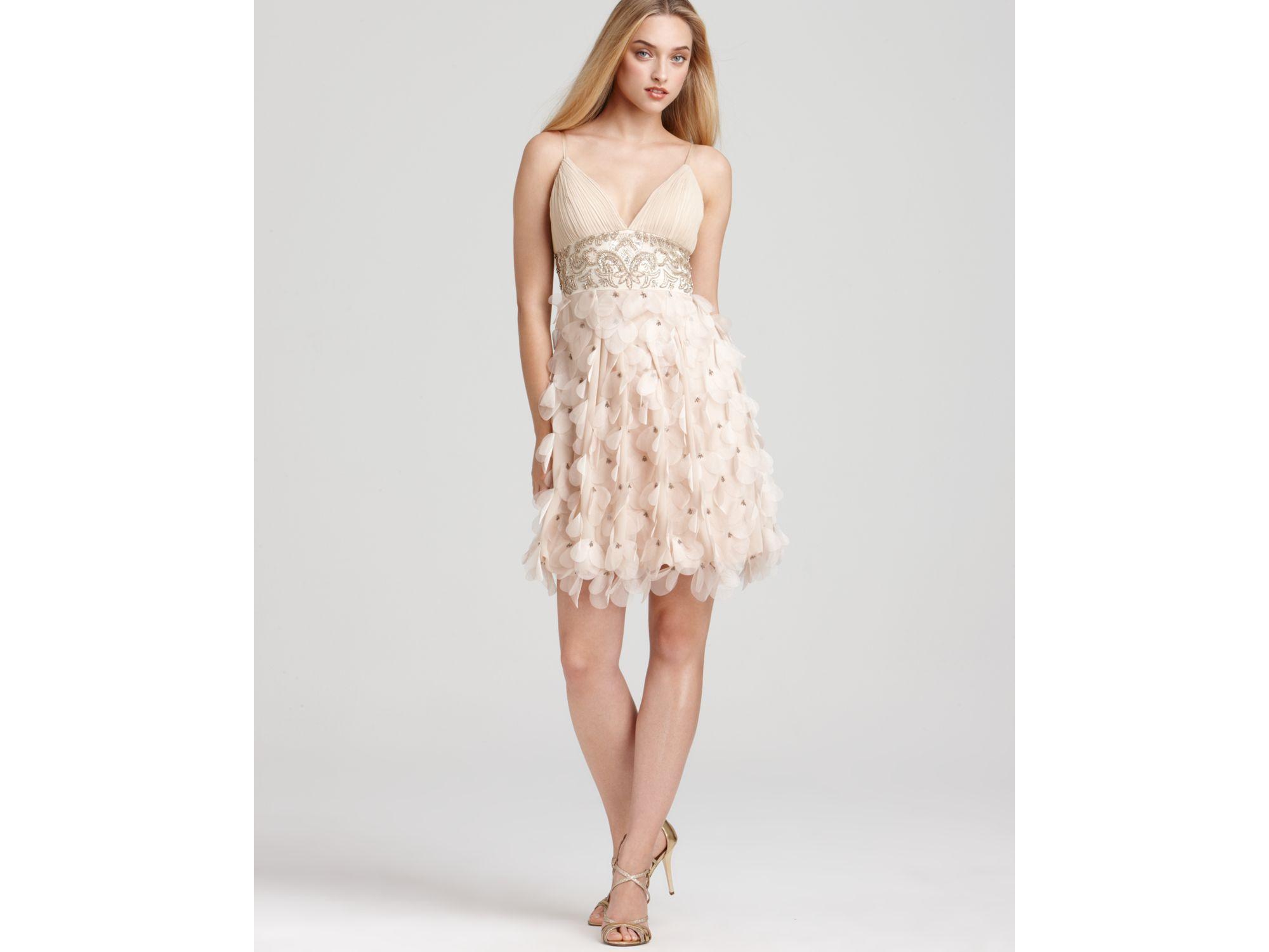 a7897f1df95 Sue Wong Short Petal Beaded Dress in Brown - Lyst