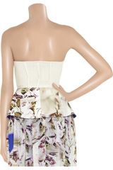 Vera Wang Eyelet Stretchsilk and Printed Crepe Peplum Top in White - Lyst