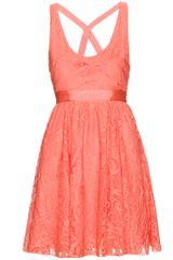 Alice + Olivia Odette Dress with Lace Overlay - Lyst