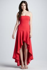 BCBGMAXAZRIA Strapless Highlow Flounced Hem Gown - Lyst