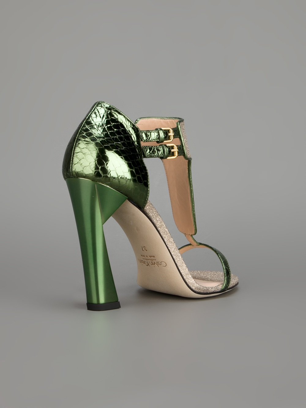 lyst calvin klein highheeled sandal in green
