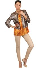 Drome Laser Cut Metallic Nappa Leather Jacket - Lyst