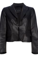 DSquared2 Cropped Leather Blazer - Lyst