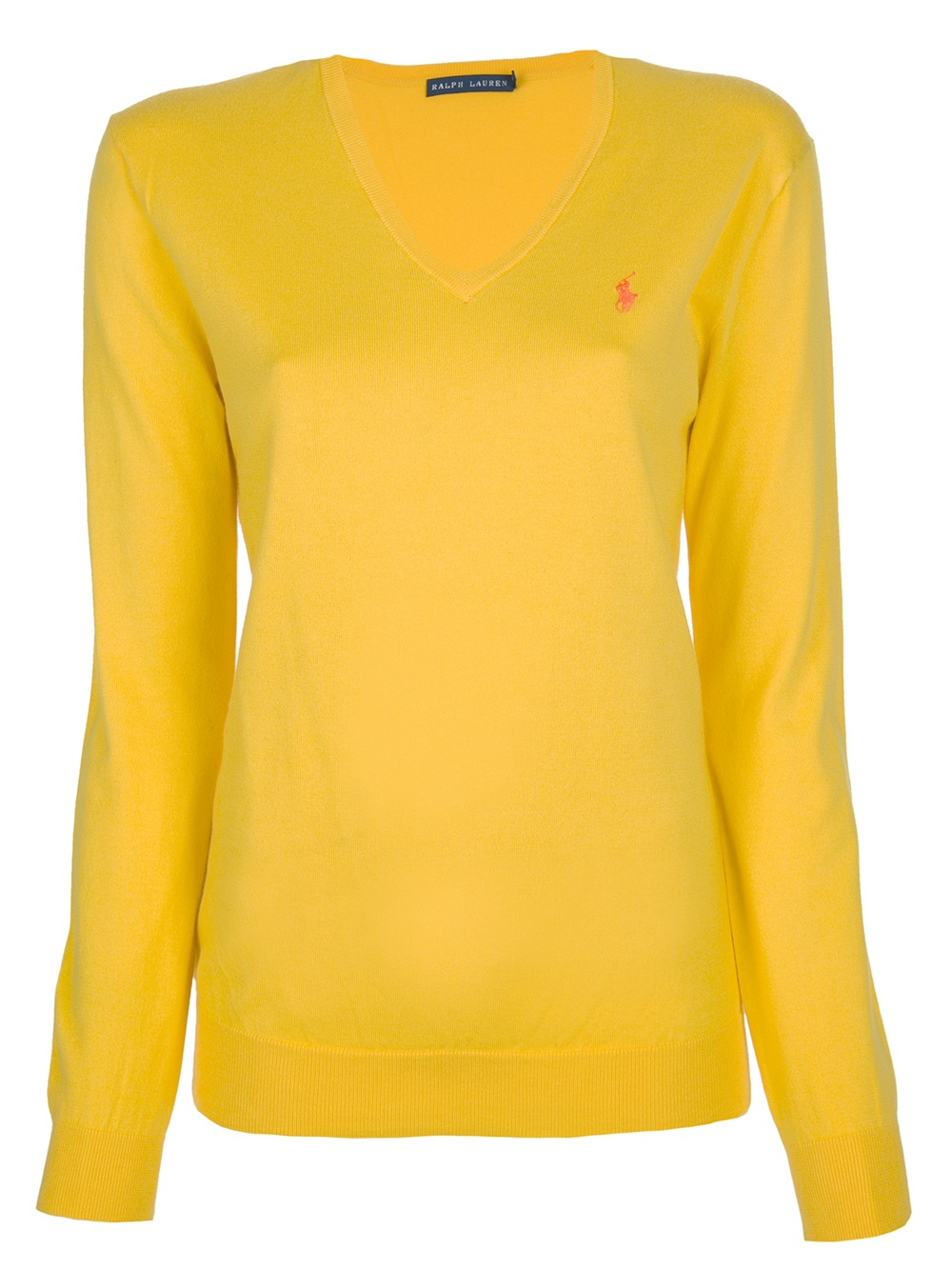 ralph lauren blue label fine gauge cotton v neck pullover in yellow lyst. Black Bedroom Furniture Sets. Home Design Ideas