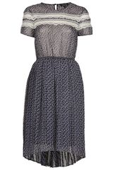 Topshop Lace Panel Pleat Dress