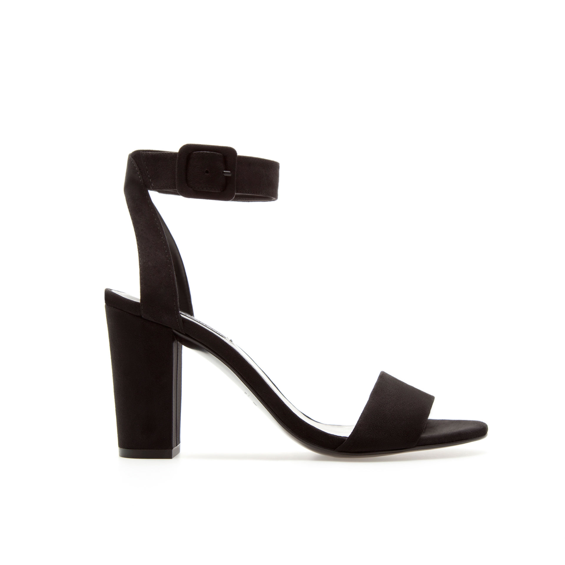 Zara Mid Heel Sandals with Ankle Strap in Black | Lyst