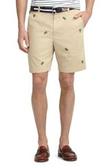 Brooks Brothers Plainfront Pineapple Embroidered Shorts - Lyst