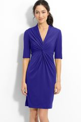 Donna Ricco Twist Front Jersey Sheath Dress - Lyst