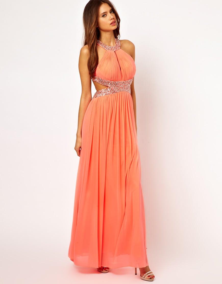 Lace Detail Halter Fishtail Maxi Dress - Peach Forever Unique Ke5f3QX