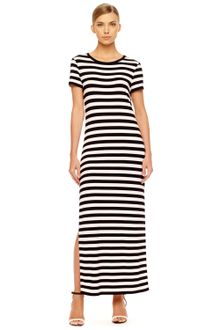 Black  White Striped Maxi Dress on Michael Kors Striped Maxi Dress In Black  White    Lyst