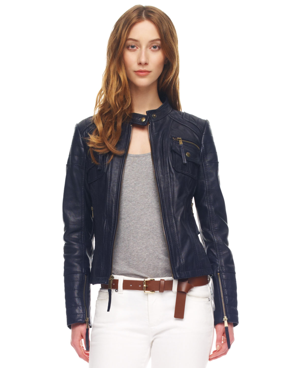 michael kors leather motorcycle jacket in blue navy lyst. Black Bedroom Furniture Sets. Home Design Ideas