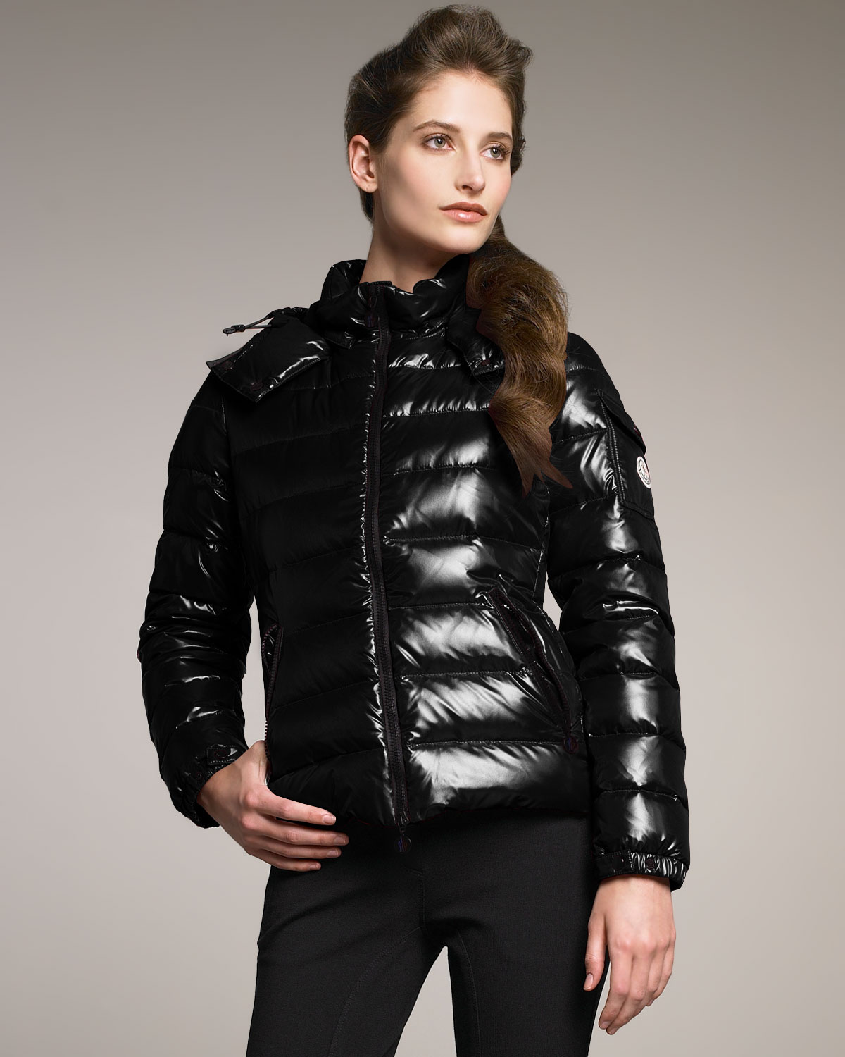 Moncler Laque Hooded Puffer Jacket In Black Lyst