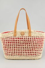 Tory Burch Megan Twisted Straw Tote Bag - Lyst