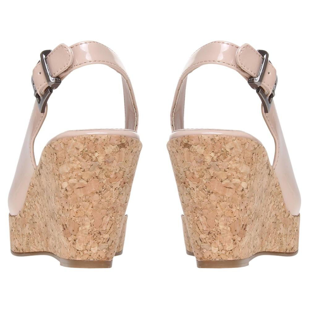 02089308e53 Carvela Kurt Geiger Kex Peep Toe Cork Wedge Sandals in Natural - Lyst
