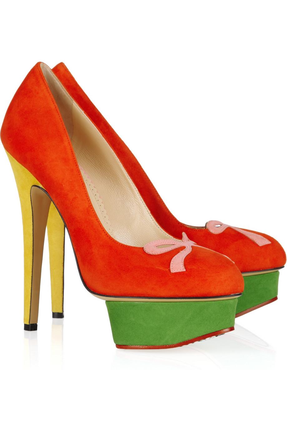 Charlotte Olympia Arabella Colorblock Suede Platform Pumps In Red Lyst Womens Pu Sweet High Heels Shoes Gallery