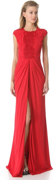 Giambattista Valli Draped Gown with Embroidered Bib - Lyst