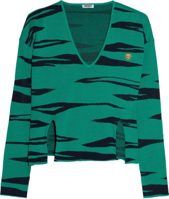 Kenzo Tiger Patterned Cotton Sweater - Lyst