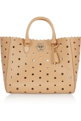 Mulberry Floral Cutout Leather Trapeze Tote