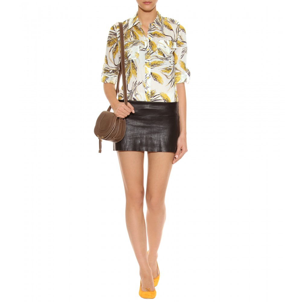 Tory burch Brigitte Print Button-down Shirt in Yellow | Lyst