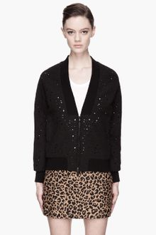3.1 Phillip Lim Black Motheaten Bomber Jacket - Lyst