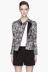 3.1 Phillip Lim Grey Speckled Corded Silk Biker Jacket - Lyst
