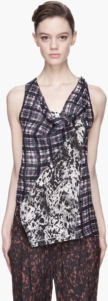 3.1 Phillip Lim Purple Plaid and Speckled Twisted Placket Top - Lyst