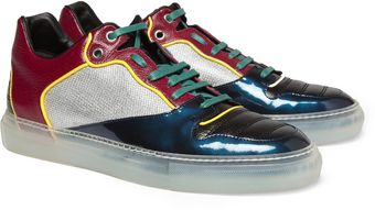 Balenciaga Panelled Leather and Fabric Sneakers - Lyst