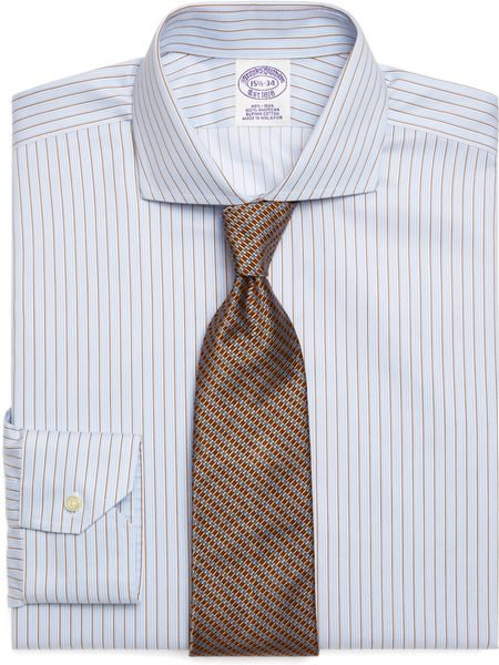 Brooks Brothers Supima Cotton Noniron Regular Fit Alternate Stripe Twill Luxury Dress Shirt in Blue for Men (light blue) - Lyst