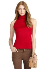 Brooks Brothers Ruffle Trim Halter Top - Lyst
