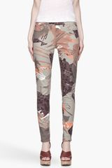 Edun Khaki and Orange Zimbabwe Print Mid-Rise Stretch Skinny Jean - Lyst
