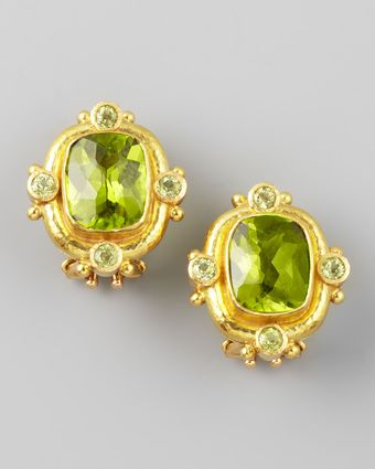 Elizabeth Locke Peridot 19k Gold Clippost Earrings - Lyst