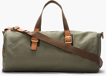Marc By Marc Jacobs Large Olive Green Leathertrimmed Canvas Duffle - Lyst